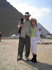 Vic and Judi at the Pyramids in Egypt